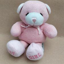 Baby Aurora Pink Teddy Bear Soft Plush Toy BABY GIRL Bow Small