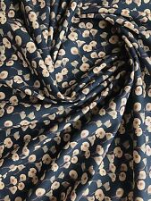 Anya Floral Design on 100% Cotton Lawn Dressmaking Fabric in Navy Blue - METRE