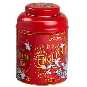 New English Teas Red Vintage Victorian Tin 240 English Breakfast Teas
