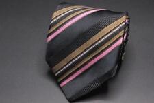 XMI PLATINUM Silk Tie. Black w Brown Blue & Pink Stripes.