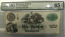 $2 City of Hudson, Wisconsin Obsolete Banknote PMG 65 EPQ GEM UNCIRCULATED