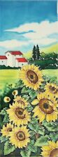 Sunflower Field Ceramic Wall Art 15x40cm Plaque Tile Picture Flower YH Arts Gift
