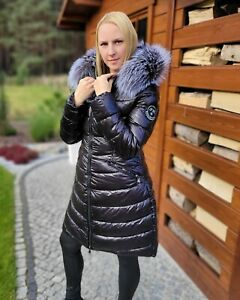 Women's Black Quilted Coat with Silver Fox Fur Hood Trim Puffer Long Jacket