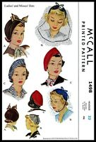McCall 1498 Hat Cap Beret Fabric sewing pattern Vintage Millinery 40's