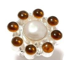 Mother of Pearl, Citrine Gemstone Silver Overlay Handmade Statement MOP Ring-8