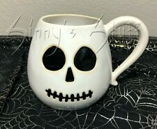 Pottery Barn Halloween Skeleton Mummy Mug Coffee Cup Ceramic Stoneware NIB