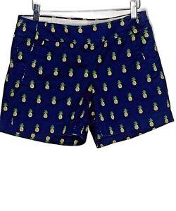 J.Crew Cotton Stretch Chino Women Navy Blue Pineapple Print Shorts Side Zip Sz 4