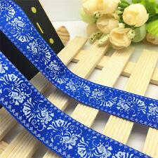NEW DIY 5 Yards 1'' 25mm Blue flower Printed Grosgrain Ribbon Hair Bow Sewing