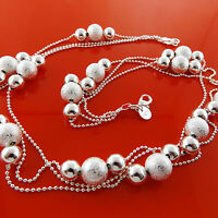 Necklace Chain Genuine Real 925 Sterling Silver S/F Ladies Bead Link Design
