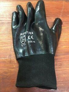 FLOOD CLEANUP NITRILE PU COATED Waterproof Black Nylon Work Gloves Builders grip