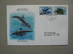 TURKS & CAICOS ISL, cover FDC 1979, reptile turtle, bird osprey