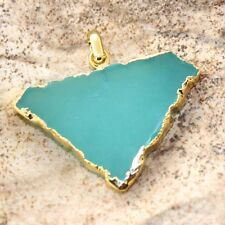 Zj5435 Labor Day Sale!! Green Chalcedony 24K Gold Plated 1.3inch Pendant Jewelry