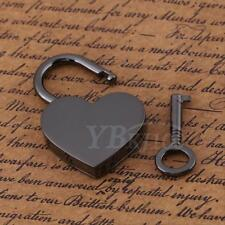 1x Middle Heart Shape Padlock Sliver Mini Crafts Toy Diary Bag Locks & Keys stw