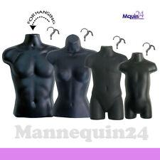 4 Black Mannequin Torsos Set - Male, Female, Child & Toddler Torso Forms