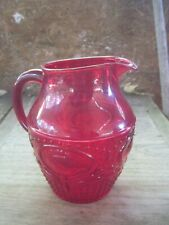 Ruby Red Plastic Pitcher, holds approx. Six Cups, Very Pretty Design