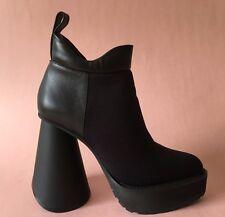 ROBERT WUN NIB Black Oblique SOLESTRUCK Boots 70s Platforms 90s Chunky Heel 7 37