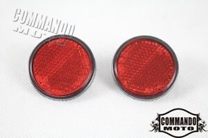 2x Round 41mm Diameter PMMA Red Reflector Universal For Dirt Bike Motorcycle Car
