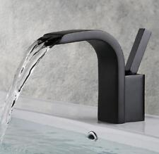Bathroom Basin Sink Faucet Hot Cold Mixer Tap Waterfall Spout Brass Deck Mounted