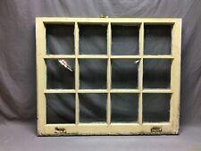 Antique 12 Lite Window Sash Old Shabby Vintage Chic Yellow Vtg 31x38 693-20B
