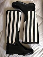 NIB Dolce & Gabbana Black & White Stripe Rubber Rain High Boots Sz 40 $695 NEW