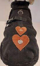 Wintermantel Trachtenmantel Hundemantel schwarz braun Herz Stoff Tracht Hund