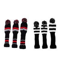 3Pcs Golf Club Knit Head Cover Headcover Set Vintange Pom Pom Sock Covers
