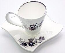 Flower 24tlg 12 Personen Kaffee Service Porzellan Geschirr Tassen Weiß Kombi Set