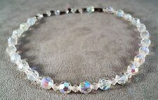 "Vintage Sparkly Crystal Choker Necklace Aurora Borealis Flash 12-15"" - Estate"