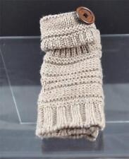 New Tan Knit Texting Fingerless Gloves Button Trim B11
