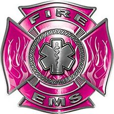 """Firefighter EMS Star of Life Maltese Cross Decal  in Pink 6"""" REFLECTIVE FF16"""