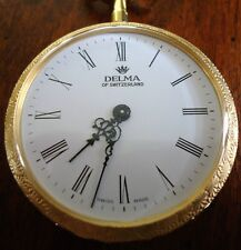 Vintage Delma of Switzerland Pocket Watch, Gold with Blue Enamel, 36mm, 36grams