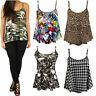 Ladies Cami Strappy Vest Top T-Shirt Leopard Tartan Print Sleeveless Casual 8-26