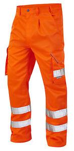 Orange High Visibility Superior Rail Spec Polycotton Cargo Trousers Hi Vis Viz