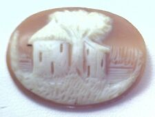 NOS Antique Hand Carved Oval Shell CAMEO Stone House & Tree Scene #N449