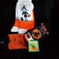 Halloween Witch Pumpkin 2 Pair Socks Jack O Lantern Black Cat Fall Autumns