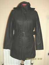 LADIES HOODED BROWN Faux Vegan Leather PU COAT M uk12eu38us8 Chest c38ins c96cm