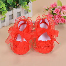 New Baby Girls Red Satin Christening Party Shoes 6-9 Months