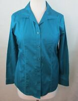 CHICOS 0 WOMENS SMALL S BUTTON DOWN DRESS SHIRT TOP BLOUSE TEAL GREEN COTTON