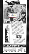 PACIFIC STEAMSHIP LINES 1934 THE ADMIRAL LINE SAN DIEGO TO SEATTLE & CANADA AD