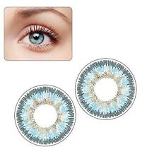 2pcs Contact Lenses Fresh Color Soft Big Eye Protection Cosmetic Lentile Blue AD