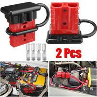 2PCS Rot 50A Batterie Stecker Steckverbindung Schnellverbinder Kabel Schutzkappe