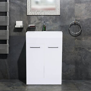 Bathroom Vanity Unit Wash Basin Base Cabinet Two Doors With Ceramic Sink  White