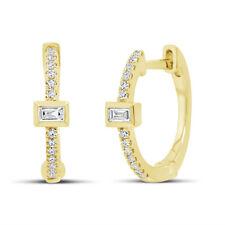 0.12 CT 14K Yellow Gold Natural Baguette Cut Diamond Huggie Hoop Earring Cuffs