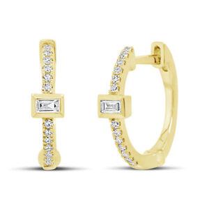 0.12 CT 14K Yellow Gold Natural Round Baguette Cut Diamond Huggie Hoop Earrings
