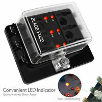 12V 24V 6 Way Blade Fuse Box Block Holder LED Warning Light For Car Auto Marine