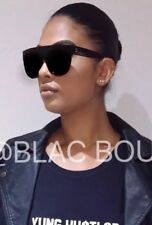 3e4711d5ca57 Celine flat top inspired black oversized Women s Sunglasses