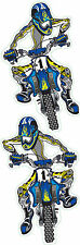 Set Adesivi Blu Enduro 11x6cm Moto Cross Decalcomania Suzuki Honda Yamaha