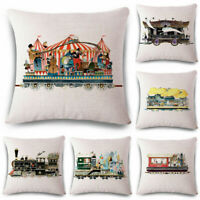 18inch House train Linen Cotton Throw Pillow Case Waist Cushion Cover Sofa Decor