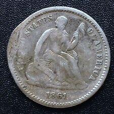 USA 1861 half dime seated Liberty Philadelphia 5 CENT ARGENTO RARO 2587