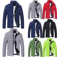 Men Winter Thick Warm Coat Stand Collar Cotton Padded Outwear Warm Zipper Jacket